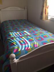 Little Miss Matched Reversible Blue and Pink geometric Comforter Sz Twin