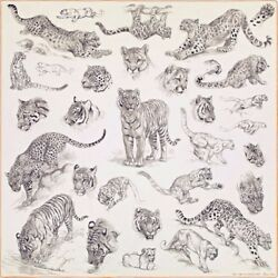 Hermes Carre 140 Cashmere Silk Scarf Shawl Stole Animal Tiger Leopard Auth Rare