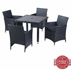 Patio Furniture Set of Five Lawn Garden Furniture Table Side Metal Frame Outdoor