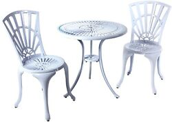River Cottage Gardens PB601WHT White Cast Aluminum Bistro Table And Chairs Set