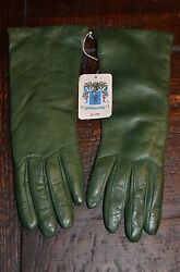 NWT AUTHENTIC PORTOLANO GREEN LEATHER CASHMERE LINED WOMENS LONG GLOVES SIZE 7