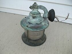 ANTIQUE COPPER ARTS AND CRAFTS DECO PORCH LIGHT..GREAT PATINA