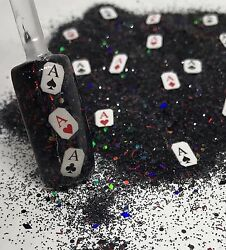 glitter mix nail art acrylic gel LUCKY HAND🎲 poker Las Vegas gamble dice cards