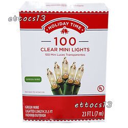 Holiday Time 100 Clear Mini Lights Christmas Wedding NEW Green Wire $8.33