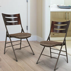 Folding Chair Set Of 2 Wood Back Upholstered Seat Portable Kitchen Garden NEW