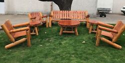 VINTAGE 7 PCS RUSTIC LOG CABIN LODGE KNOTTED PINE FURNITURE SOFA 3CHAIRS 3TABLES