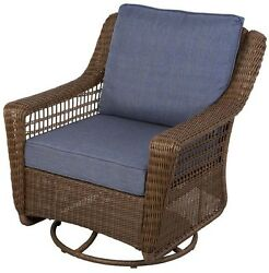 Patio Rocking Chair Outdoor Swivel Wicker Porch All Weather Seat Blue Cushions