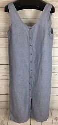 Topshop Moto Blue Chambray Button Front Jumper Dress Sz 10 Sleeveless Low Back
