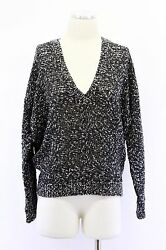 NWT$4175 Brunello Cucinelli Cashmere-Wool Sequined Crochet Knit V-Neck Sweater S
