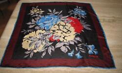 Square scarf; floral; Jacqmar of London; SILK; black red cream blue gray; 28x29