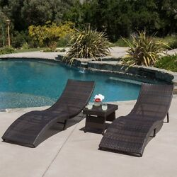 Chaise Lounge Chair Wicker 3 Piece Folding Set Outdoor Pool Deck Patio Seat