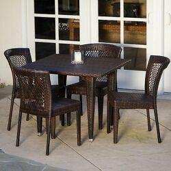 Patio Furniture Dining Set 5 All Weather Table and Chairs Wicker Outdoor Porch