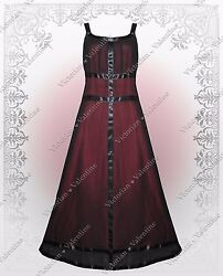 Victorian Renaissance Regency Titanic Steampunk Gothic Red Black Dress Gown