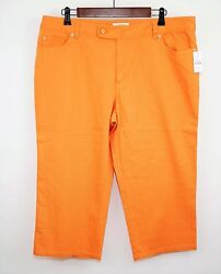 TALBOTS Capris Cropped Pants Orange Coral Cotton Blend - WOMEN'S 16 P - NWT $59