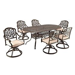7 Piece Home Dining Metal Yard Patio Garden Outdoor Furniture Set Chair Decor