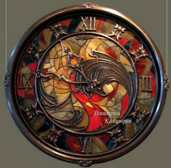 Large Wall Clock backlit stained glass metal interior decoration best luxury ART