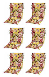 Tropical Flora Sling Patio Chair Cushions Set of 6 Outdoor Replacement Pads