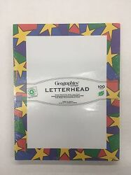 Geographics Letterhead Stationery Paper Gold Stars Design 8.5quot; x 11quot; 100ct NEW $9.99