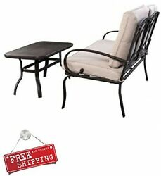 Patio Furniture for Small Spaces Loveseat with Cushions Table Set Steel Outdoor