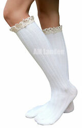 AM Landen Super Cute Lolita Style Knee High Socks Womens Socks Off White $6.99