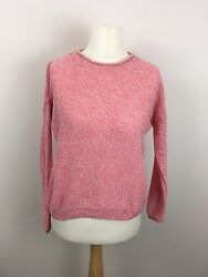 New Look Pink White Knit Top Jumper Winter Autumn Size S Button Back Layering