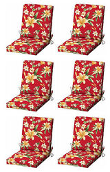 Red Flora Patio Cushion Set of 6 Outdoor Replacement Pads Dining Chair Cushions