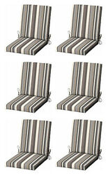 Gray Stripes Patio Cushion Set of 6 Outdoor Replacement Pads Dining Chair