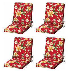 Red Flora Patio Cushion Set of 4 Outdoor Replacement Pads Dining Chair Cushions
