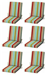 Multi Stripes Patio Cushion Set of 6 Outdoor Replacement Pads Dining Chair