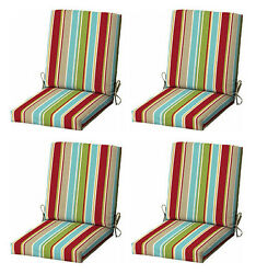 Multi Stripes Patio Cushion Set of 4 Outdoor Replacement Pads Dining Chair