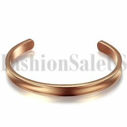 Men Womens Stainless Steel Black Gold Silver Tone Grooved Cuff Bracelet Bangle $8.99