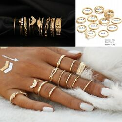 12 Pcsset Gold Midi Finger Ring Set Vintage Punk Boho Knuckle Rings Jewelry NEW