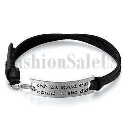 Women's She Believed She Could So She Did Leather Inspirational Bangle Bracelet