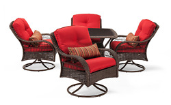 Outdoor Wicker Patio Large 5 Piece Red Swivel Chair Dining Furniture Set NEW