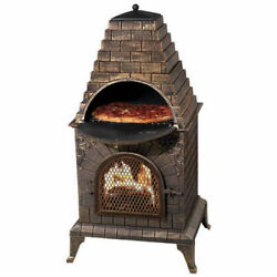 Aztec Allure Pizza Oven Cast Iron Home Outdoor Cooking Fireplace Barbecue Grill