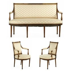 French Neoclassical Antique Salon Suite: Settee w Pair Arm Chairs 19th Century