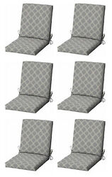 Gray Patio Cushion Set of 6 Replacement Pads Furniture Outdoor Dining Chair
