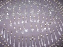 144pc Lot Asfour Lead Crystal Chandelier Prisms Icicles French Teardrops Yards $139.99