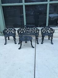 BEAUTIFUL SET OF ANTIQUE CAST IRON PATIO OUTDOOR FURNITURE BENCH 2 CHAIRS TABLE