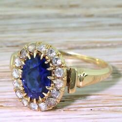 ART DECO 1.88ct NATURAL NO HEAT SAPPHIRE & DIAMOND RING - Rose Gold - c 1915