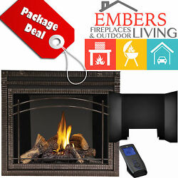 NAPOLEON HDX40 DIRECT VENT GAS FIREPLACE WROUGHT IRON SURROUND REFLECTIVE PANELS