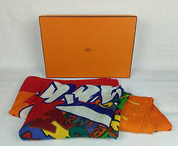 100% Auth Graff HERMES Cashmere Silk Shawl Scarf by KONGO Lim Edition Sold Out