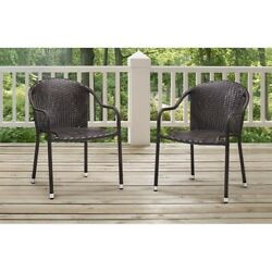 Crosley Palm Harbor Outdoor Wicker Chairs in Brown (Set of 2)