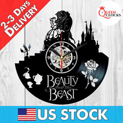 Beauty and the Beast Disney Rose 2017 Vinyl Record Wall Clock Decor Best Gifts $24.99