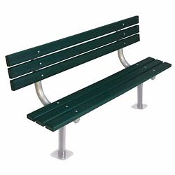 Commercial Park 6-Ft Green Back Surface Mount Recycled Plastic Steel Frame Bench