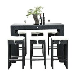 Patio Furniture Sets Clearance Bar Height Dining Table Set Outdoor Wicker For 6