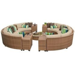 TKC Laguna 11 Piece Outdoor Wicker Sofa Set in Wheat