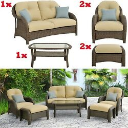 6-Piece Outdoor Furniture Patio Wicker Chair Set Loveseat Ottomans Coffee Table