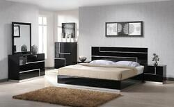 DE ANJIE QUEEN SIZE MODERN BLACK CRYSTAL BEDROOM SET 5PC $2139.00