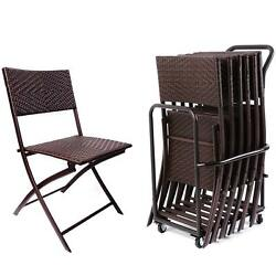 Folding Chairs Set and Cart Patio Garden  Deck Poolside Picnic Furniture